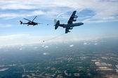 Aerial refueling of helicopter — Stock Photo