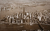 Aerial view of New York City old grainy sepia tone — Stock Photo