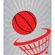Stock Vector: Basketball on metal background