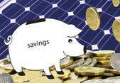 Spara högar med pengar på Sol piggbank — Stockfoto