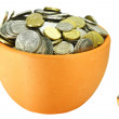 Two pots of coins - Stock Photo