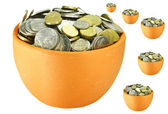 Lots of coins in pots — Stock Photo