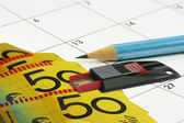 Calander money pencil — Stock Photo