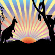 Koaland kangaroo in sunset — Stock Vector #12770111