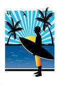 Teenager surfer — Stock Vector