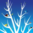 Stock Vector: Birds and white tree