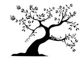 Black tree with butterflies — Vector de stock