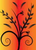 Leaves and flower — Vector de stock