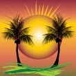 Stock Vector: Palms sunset