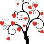 A black tree with hearts — Stock Photo