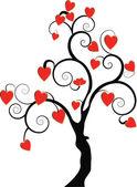 Un árbol negro con corazones — Foto de Stock