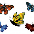 Set of colored butterflies — Stock Vector