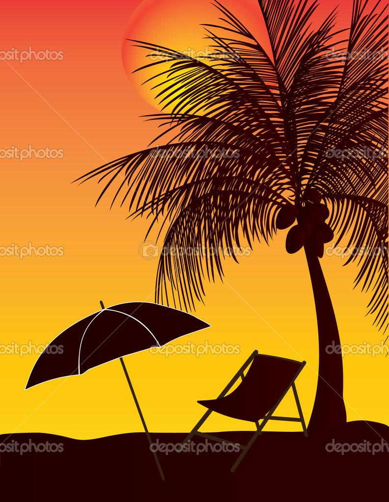 在夕阳下放松伞椰子树– 图库插图