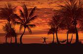 Palms siesta time — Stock Vector