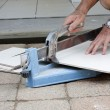 Tiler cutting tiles — Stock Photo