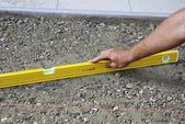 Leveling ground for paving — Stock Photo