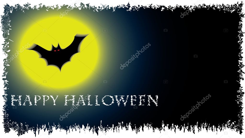 Halloween vector background with moon and bat — Vettoriali Stock  #13424045