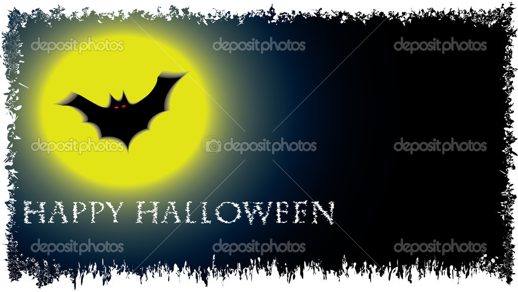 Halloween vector background with moon and bat   #13424045