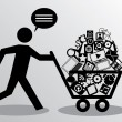 Running man with shopping - Imagen vectorial