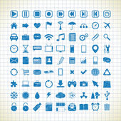 Set of media icons in the style of the sketch — Stock Vector