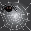Stock Vector: Spider in cobweb