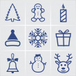Stock Vector: Christmas blue icons