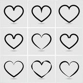 Icons hearts — Stock Vector