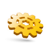Icon of 3d gear gold. — Stock Vector