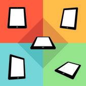 3d tablets with blank screens in color. — 图库矢量图片