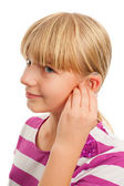 Wearing a hearing aid — Stock Photo