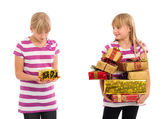 Comparing of christmas gifts — Stock Photo