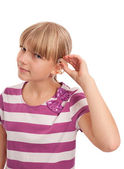 Hearing aid putting on — Stock Photo