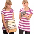 Stock Photo: Difference of Books and ebook reader