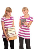 Difference of the Books and an ebook reader — Stock Photo