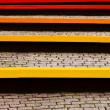 Colored benches and pavers — Stock Photo