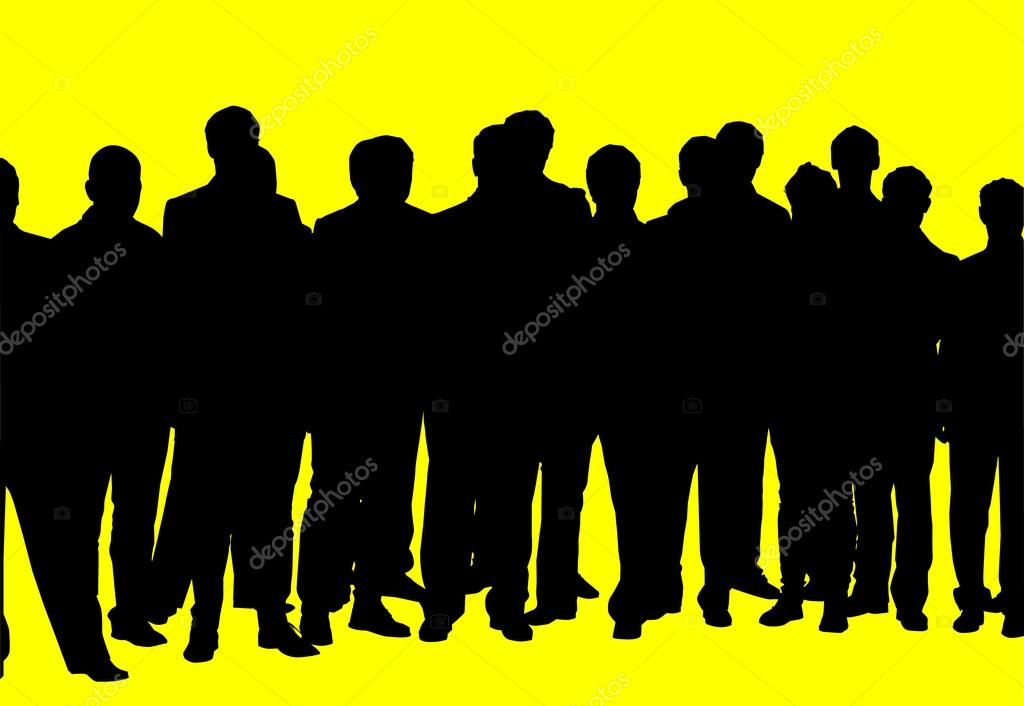 Crowd Silhouette Vector Silhouette of a Crowd of on a