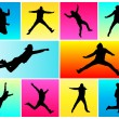 Stock Vector: Silhouettes of jumping