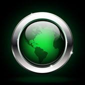 Eco world button. planet icon — Vector de stock