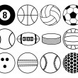 Stock Vector: Sports balls black and white