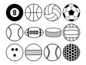 Sports balls black and white — Stock Vector