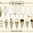 Stock Vector: Vintage Icons of ice cream