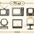 Stock Vector: Set of vintage TV