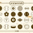 Stock Vector: Vintage set of sports balls