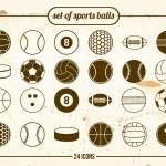 Vintage set of sports balls — Stock Vector