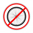 Постер, плакат: Sign prohibiting bicycle wheel