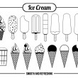 Icons of ice cream — Stock Vector