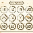 Vintage set of digital timers — Stock Vector