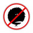 Sign prohibiting shaggy monsters — Stock Vector