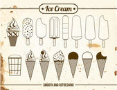 Vintage Icons of ice cream — Stock Vector