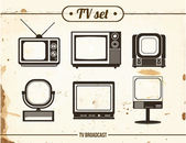Set of vintage TV — Stock Vector
